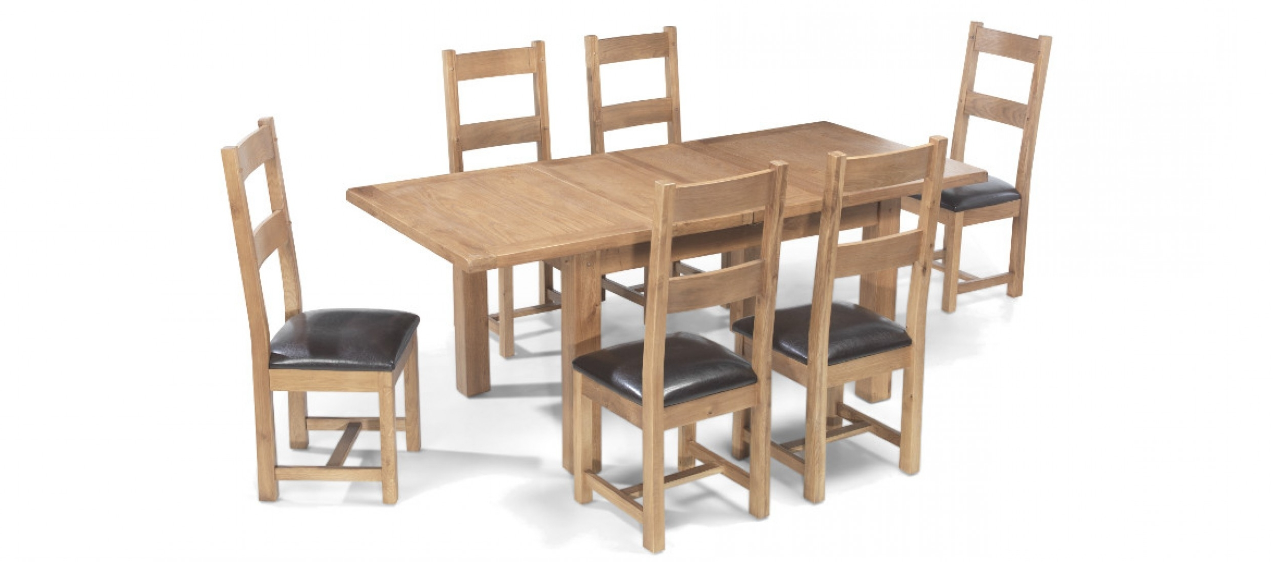 Extendable Dining Table And 6 Chairs within Recent Rustic Oak 132-198 Cm Extending Dining Table And 6 Chairs