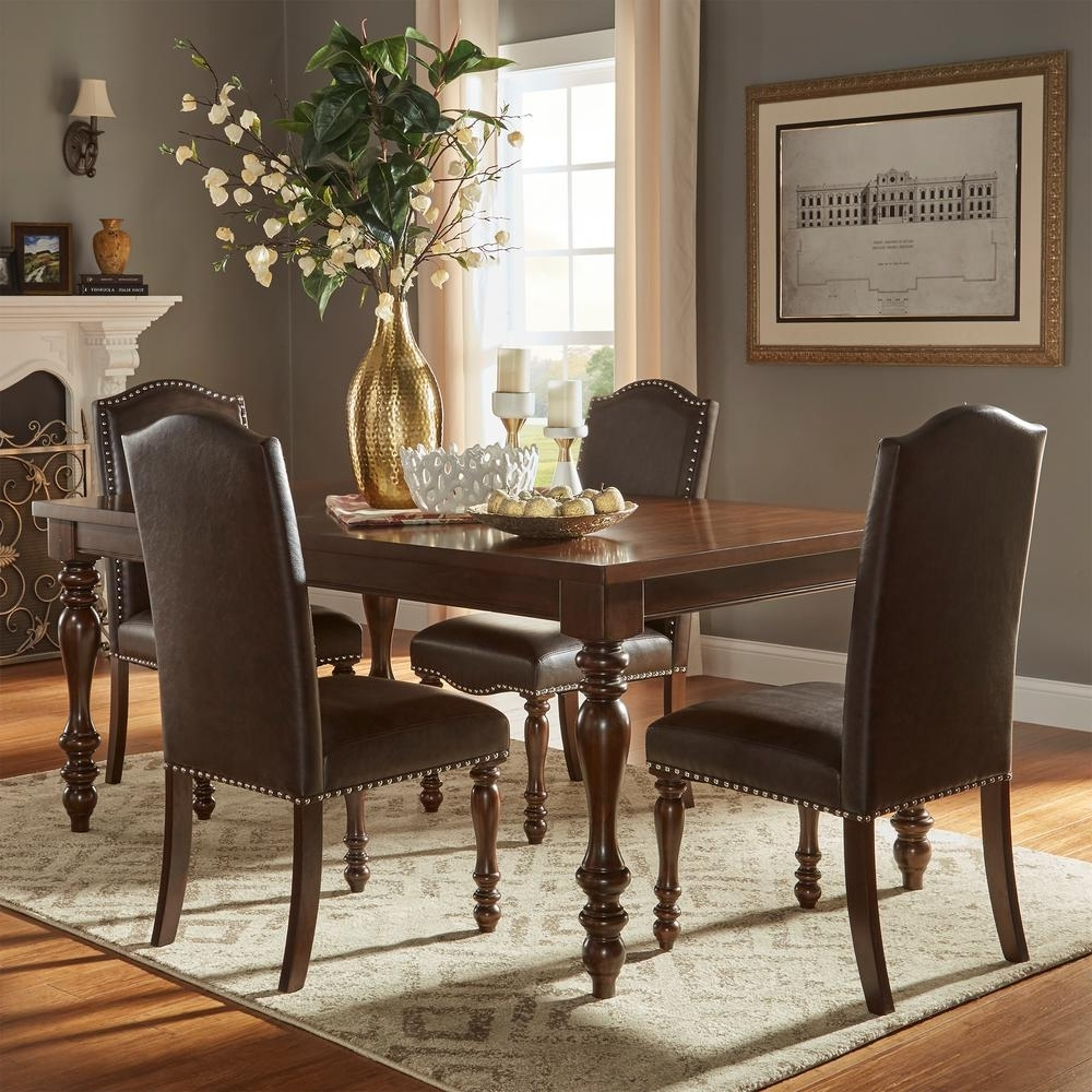 Extendable Dining Table Sets throughout Best and Newest Homesullivan Madison 5-Piece Brown Extendable Dining Set-405425Ak