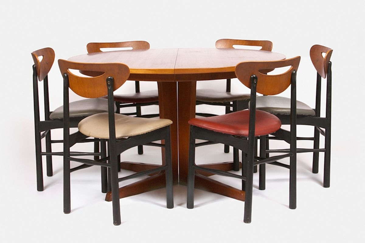 Extendable Dining Table Sets within Most Popular Teak Extendable Dining Table Set, 1960S For Sale At Pamono