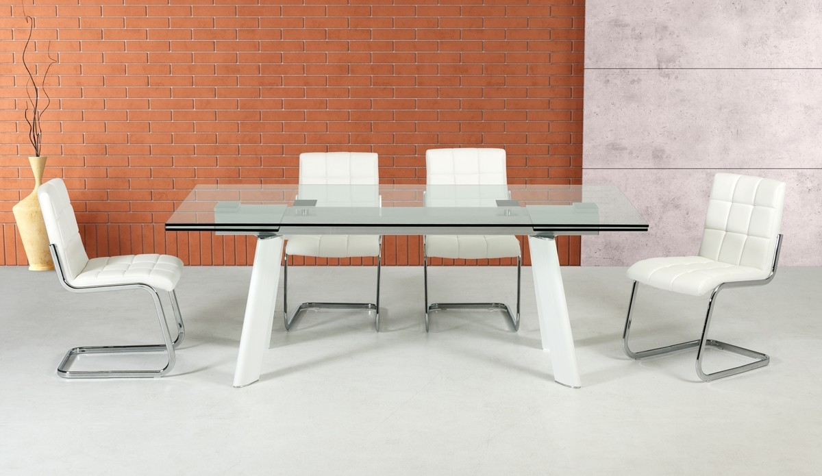 Extendable Glass Dining Tables For Popular Large Extendable Glass Dining Table Set Los Angeles California Vig (View 20 of 25)