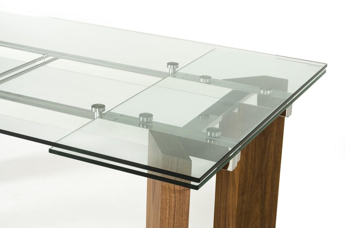 Extendable Glass Dining Tables inside 2017 Modrest Helena Modern Extendable Glass Dining Table