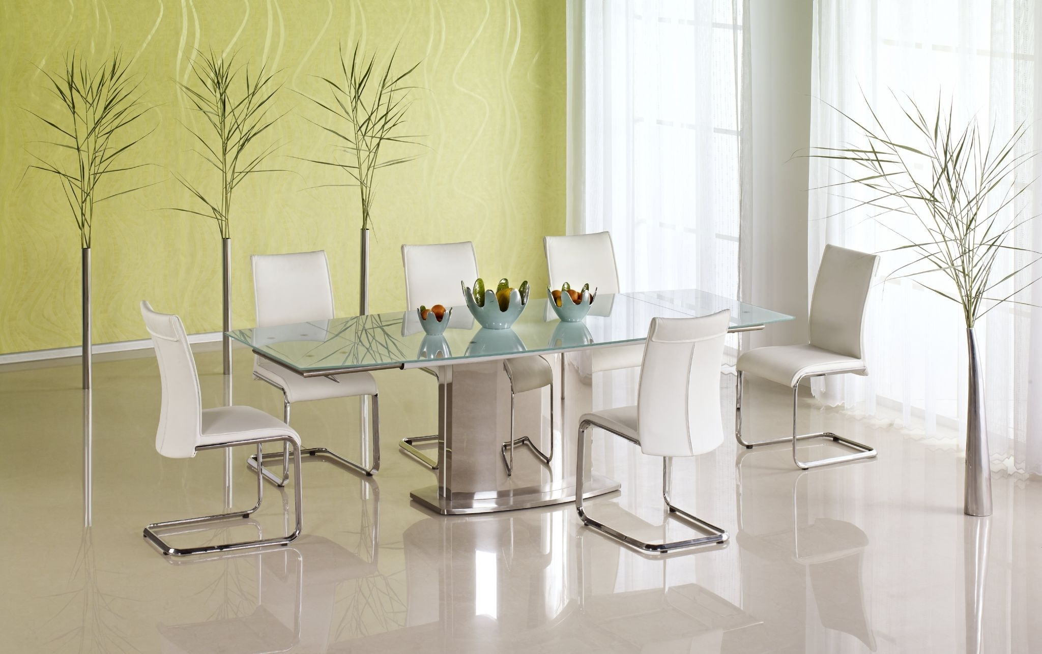 Extendable Glass Dining Tables within Well-known Buy Beatrice Glass Top Extending Dining Table