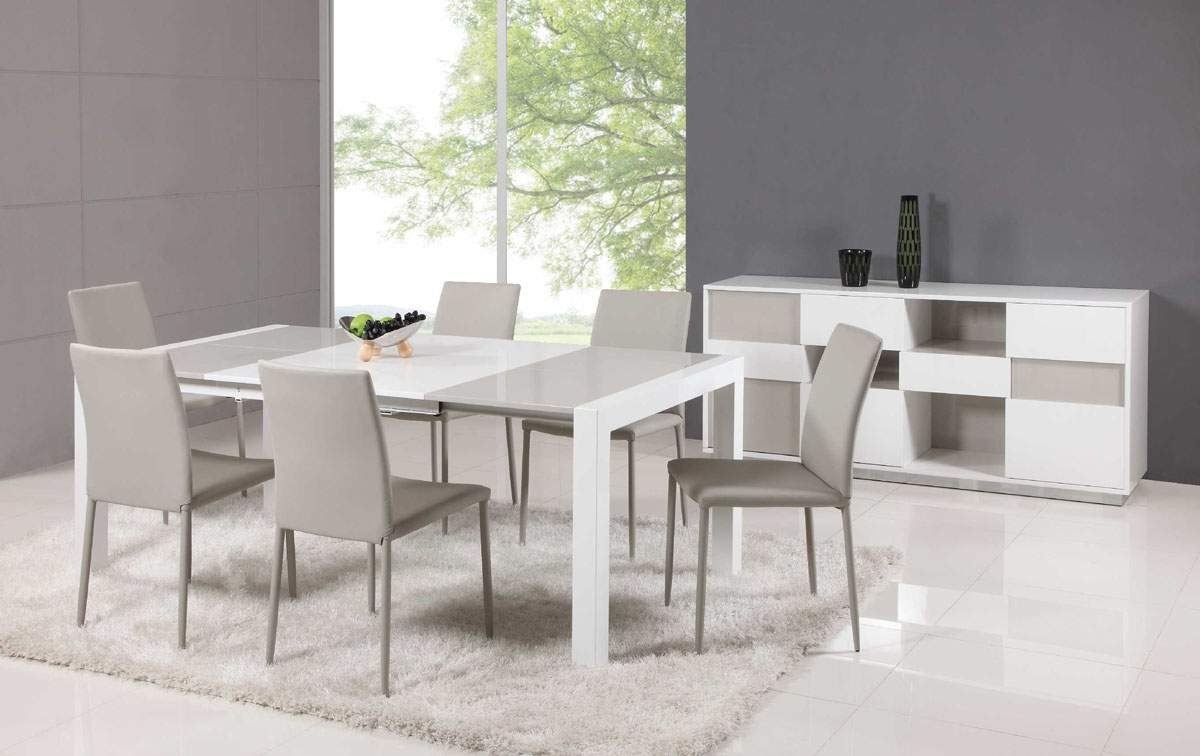 Extendable Glass Top Leather Dining Table And Chair Sets Lincoln intended for Well-liked White Dining Tables Sets