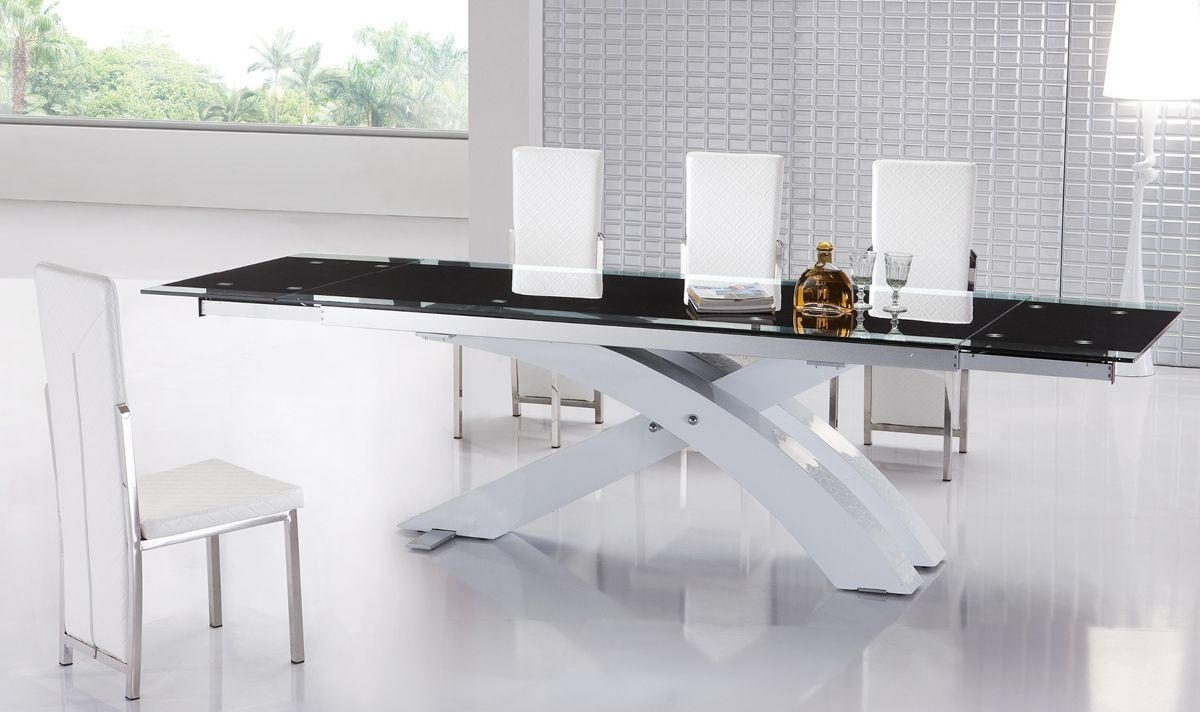 Extendable Glass Top Modern Furniture Table Set Lakewood Colorado Throughout Current White Glass Dining Tables And Chairs (View 21 of 25)