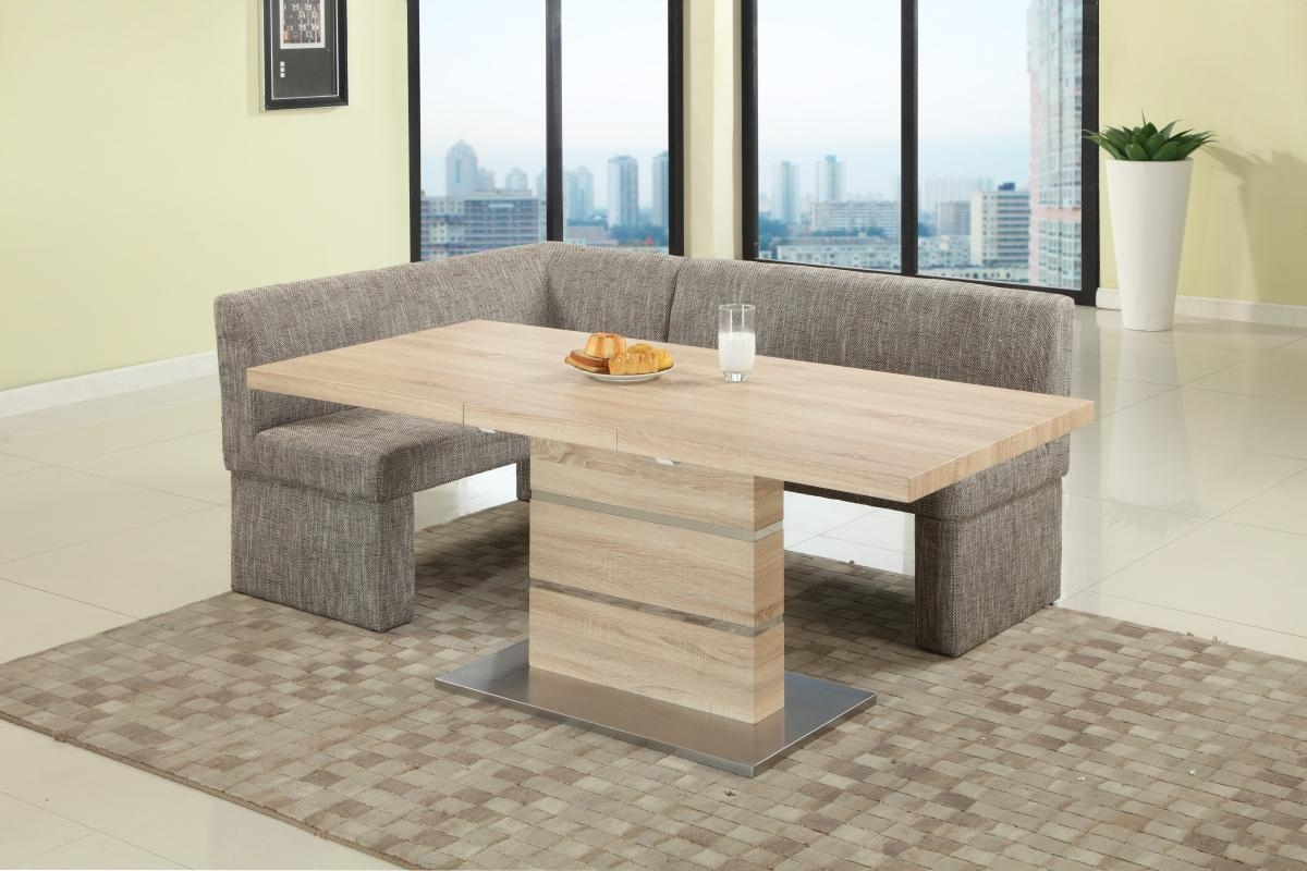 Extendable In Wood Fabric Seats Dinner Table And Nook Mesa Arizona for Most Popular Oak Dining Tables And Fabric Chairs
