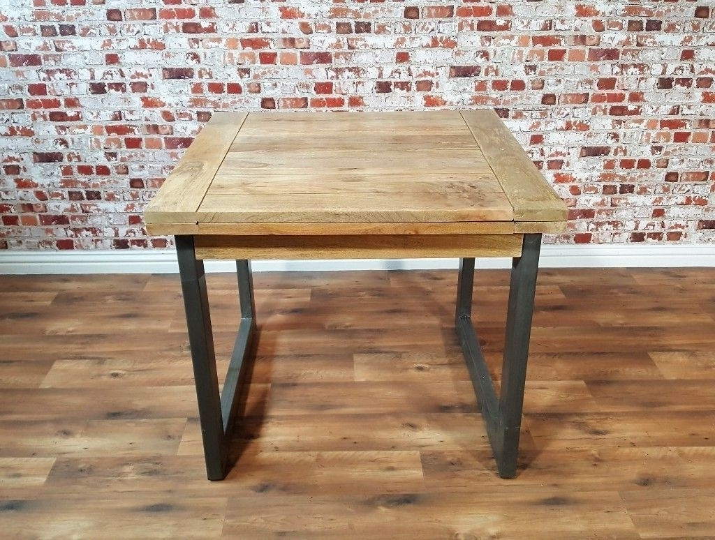 Extendable Industrial Rustic Dining Table Drop Leaf Hardwood for Recent Drop Leaf Extendable Dining Tables