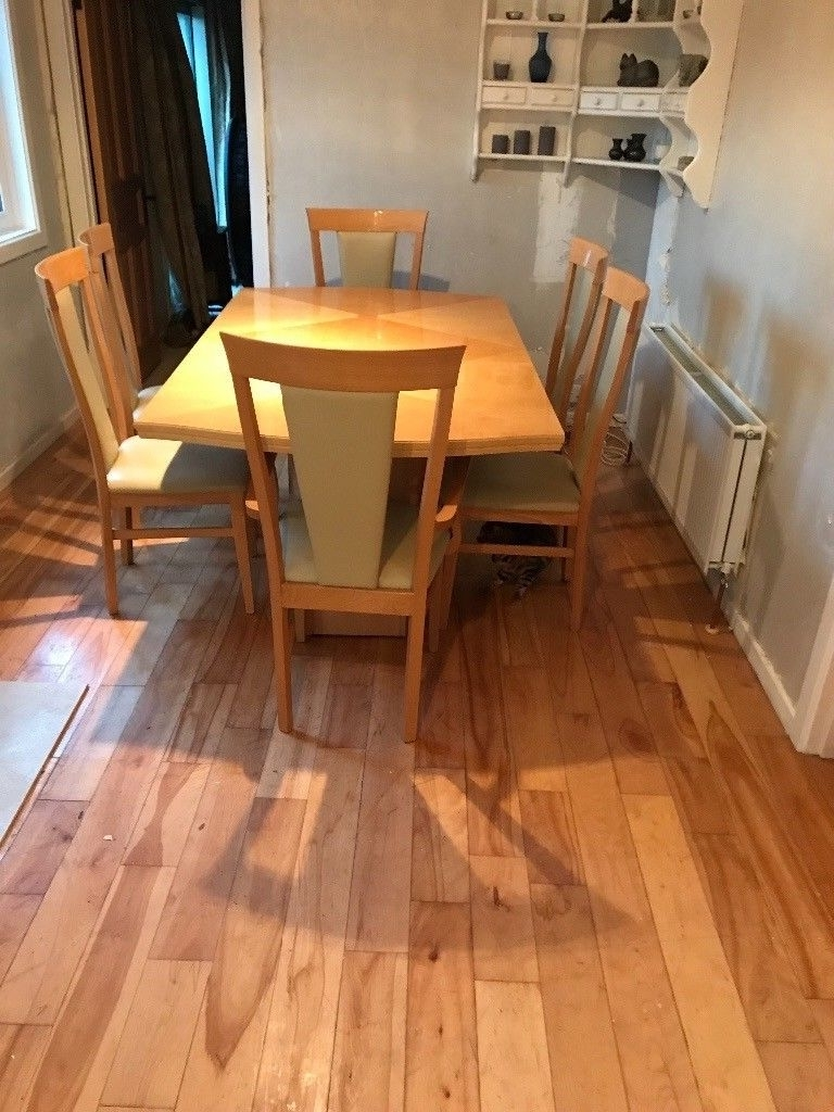 Extendable Lacquered Maple Dining Table With 6 Cream Leather Type In 2017 Cream Lacquer Dining Tables (Gallery 25 of 25)