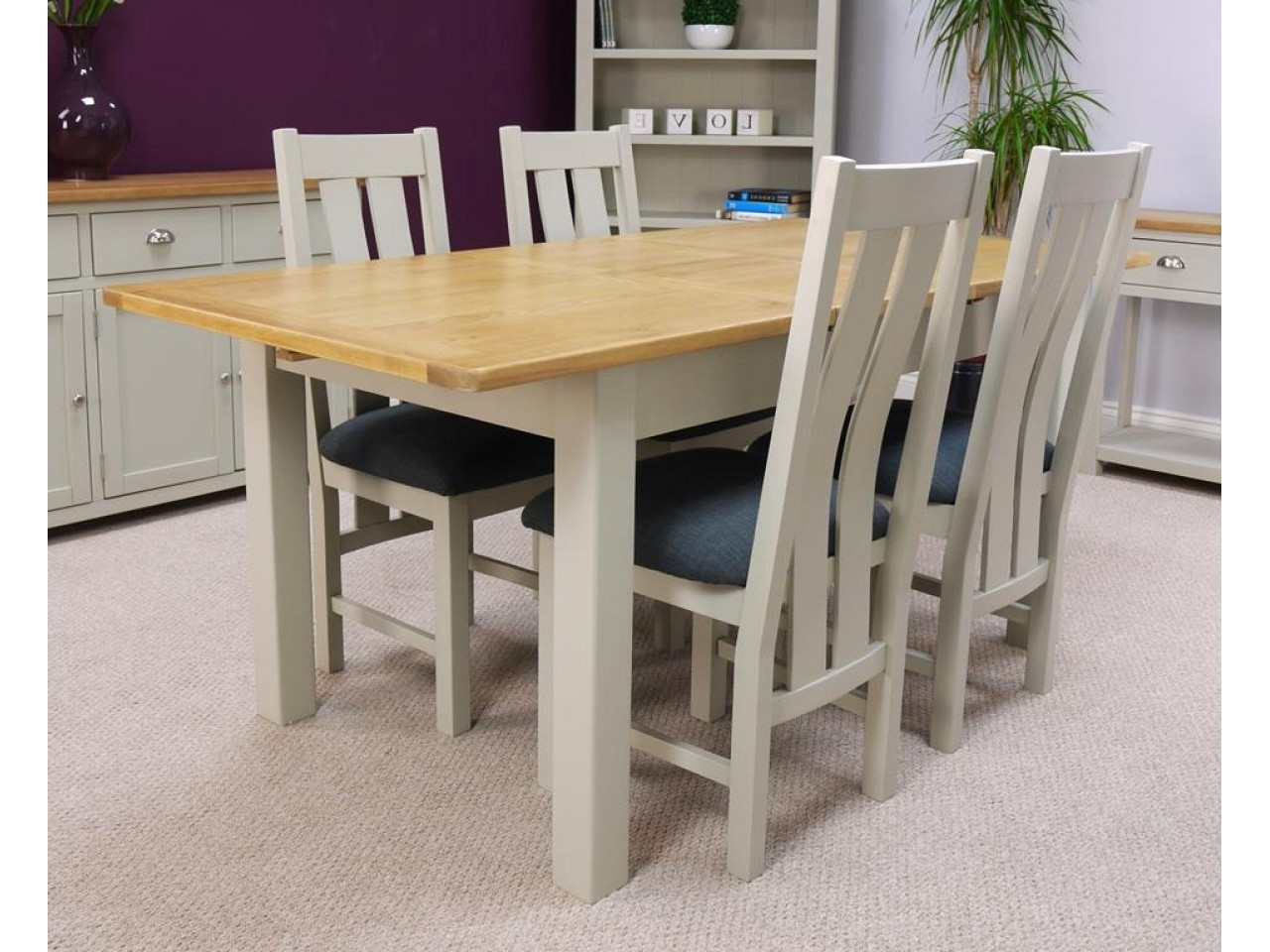 Extendable Oak Dining Tables And Chairs Throughout 2017 Oak Living Room Furniture Uk With Two Tone Grey Painted Extending (View 8 of 25)