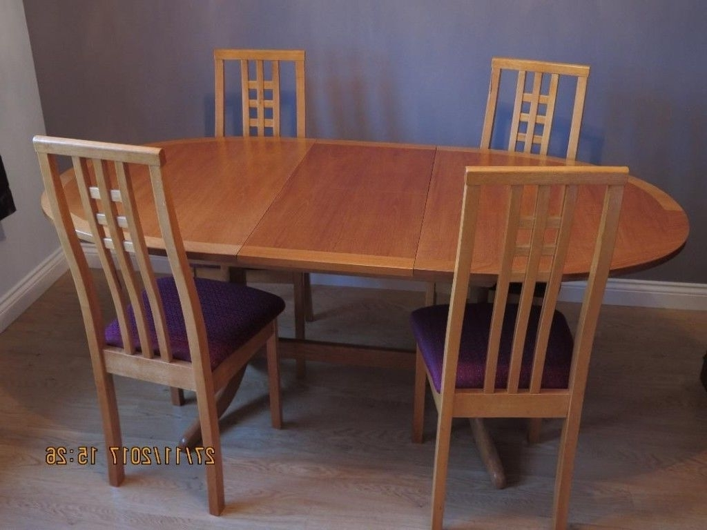 Extendable Oval Oak Dining Table & 4 Chairs - Quality Nathan Brand with Preferred Oval Oak Dining Tables And Chairs