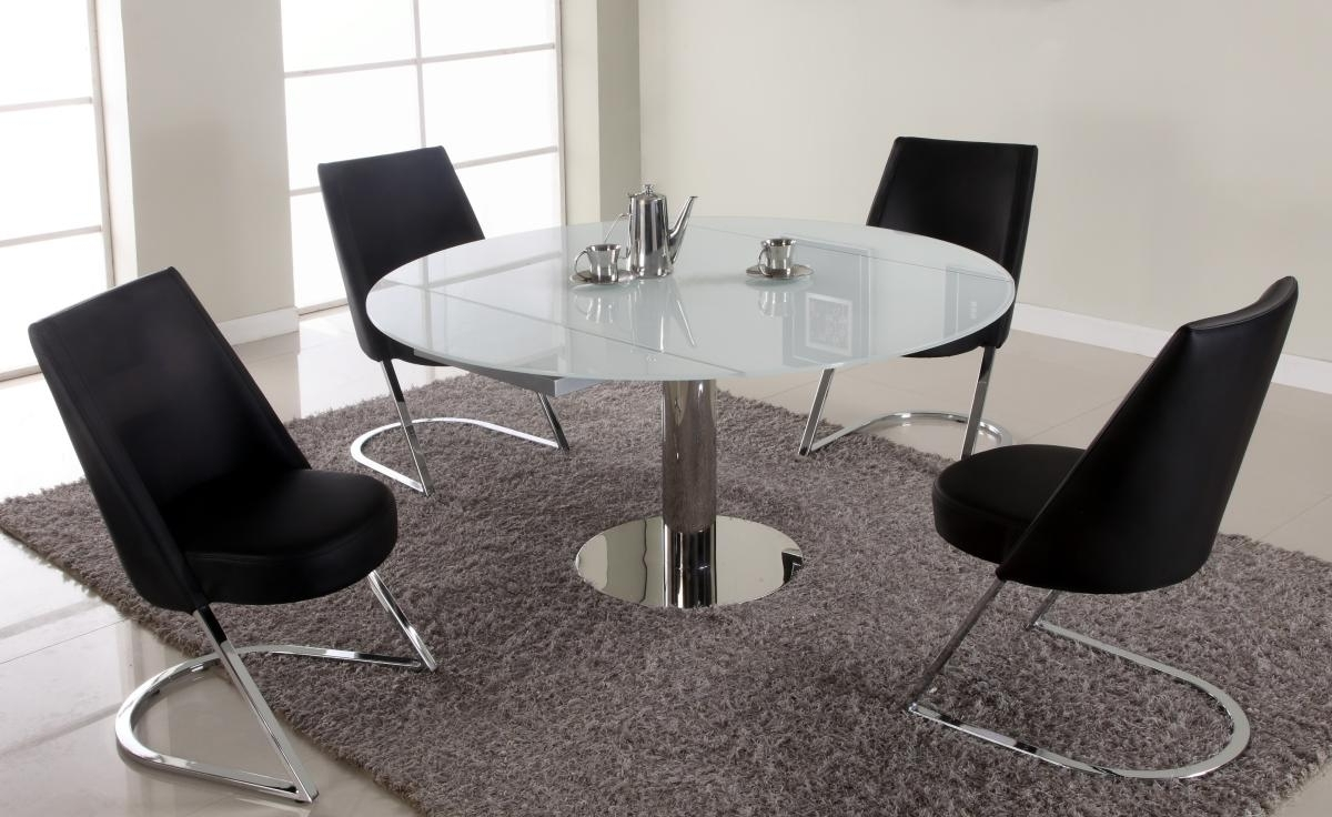 Extendable Round Dining Tables Sets inside Most Popular Extendable Round Sqaure Glass Top Designer Table Set St. Louis