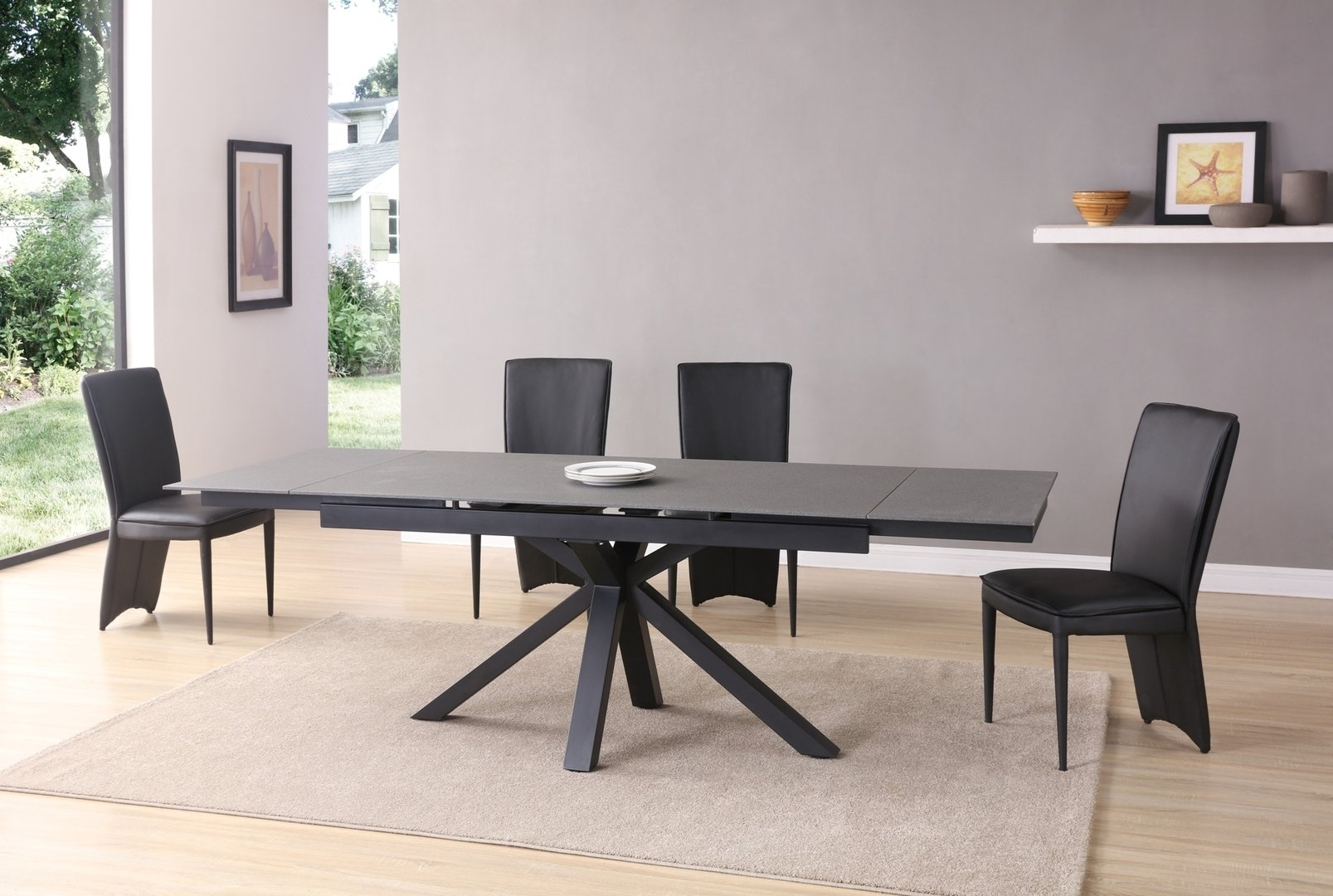 Extending Black Dining Tables For Well Known Grey And Black Stone Glass Dining Table And 8 Chairs – Homegenies (Gallery 9 of 25)