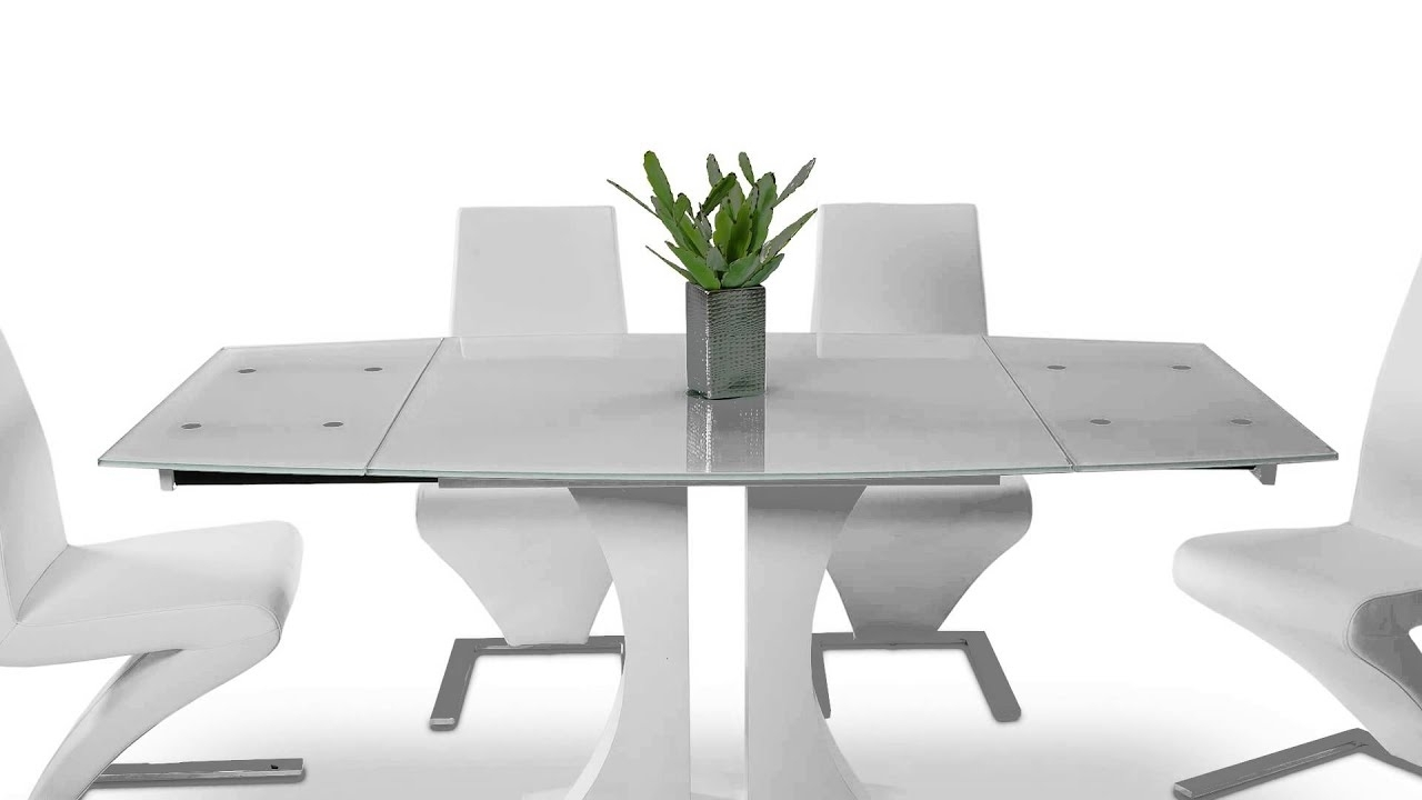 Extending Black Dining Tables Inside Recent Split – Modern White Extend Able Dining Table – Vggu2331Xt Wht – Youtube (View 9 of 25)