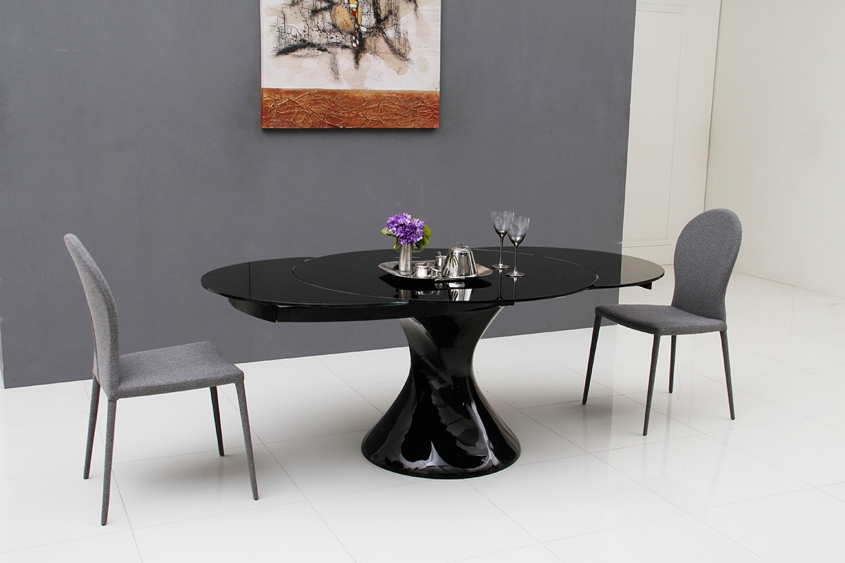 Extending Black Dining Tables Pertaining To Widely Used Savor Modern Round Extend Able Black Lacquer Dining Table (Gallery 18 of 25)