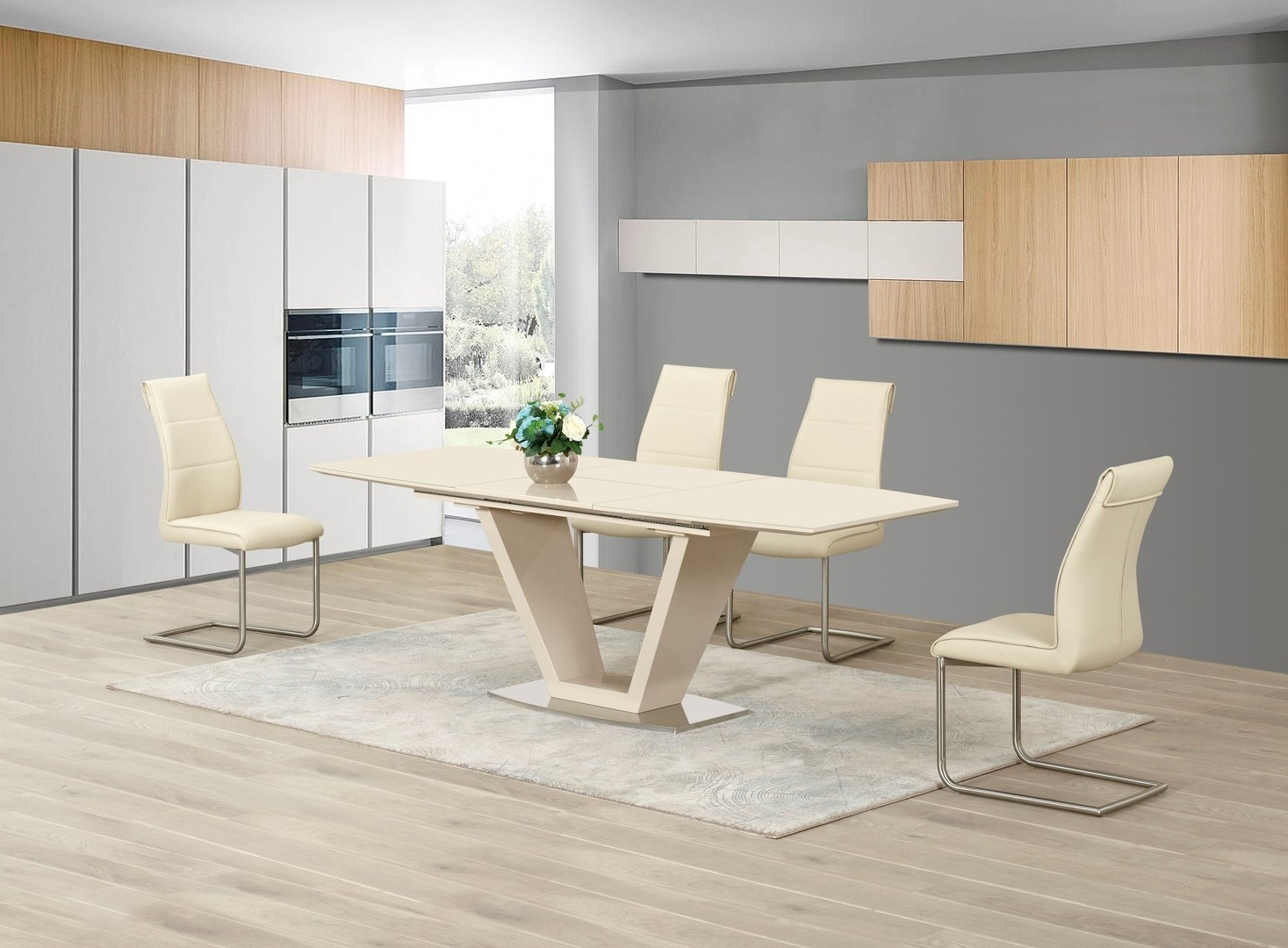 Extending Cream Glass High Gloss Dining Table And 8 Cream Chairs In Trendy Extending Dining Tables Sets (View 11 of 25)