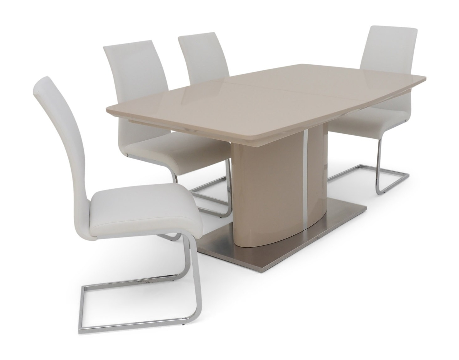 Extending Cream Gloss Dining Table + 4 Chairs Set inside Most Popular Extendable Dining Table And 4 Chairs