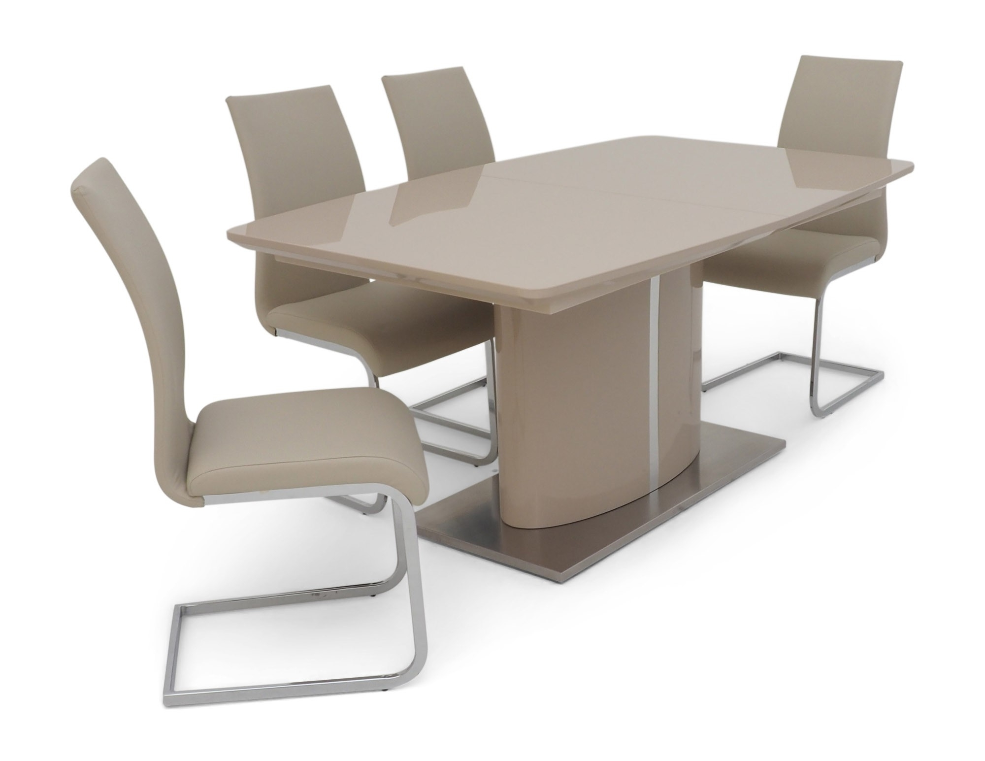 Extending Cream Gloss Dining Table + 6 Chairs Set within 2017 Extendable Dining Tables And 6 Chairs