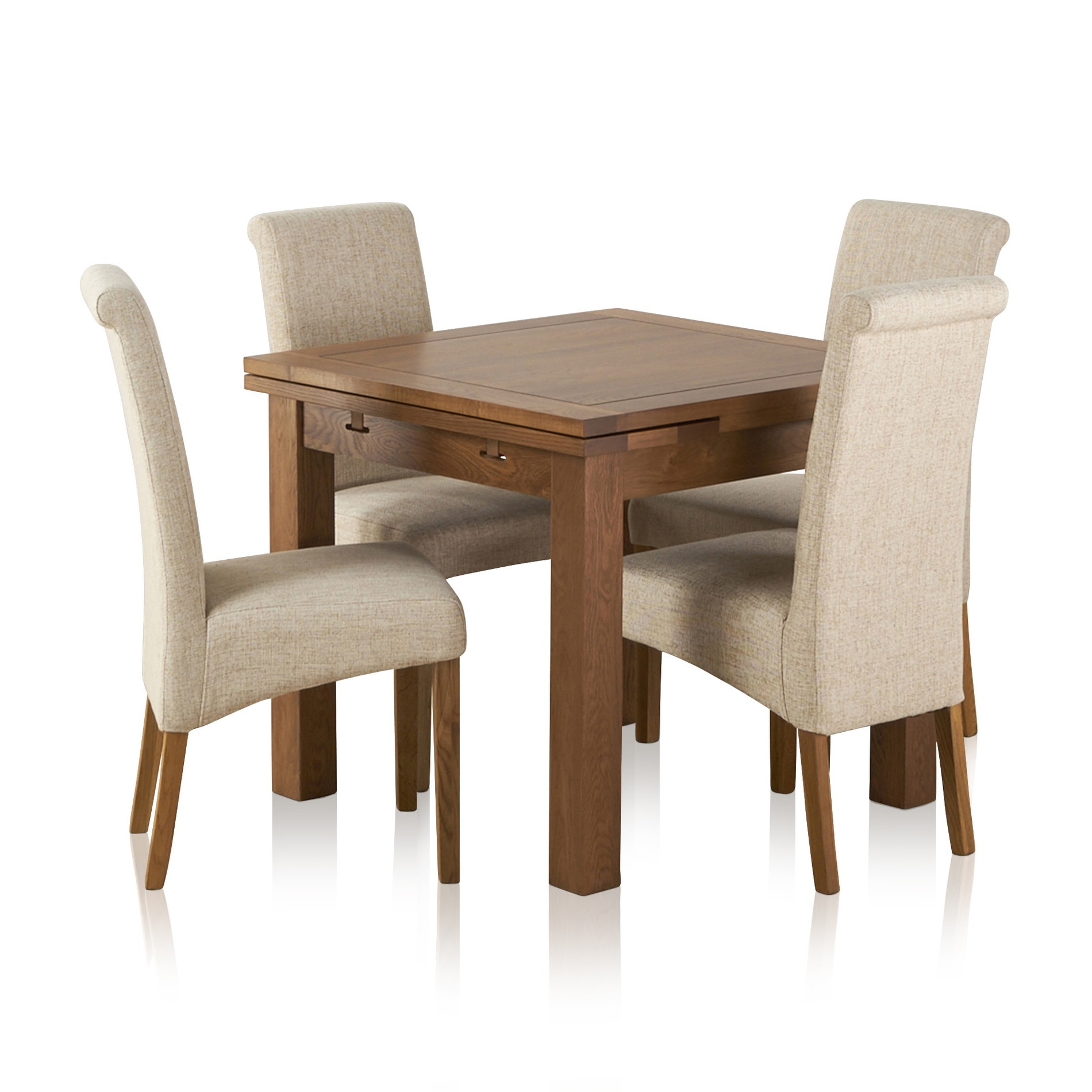 Extending Dining Table In Rustic Oak With 4 Beige Fabric Chairs Regarding Latest Dining Tables And Fabric Chairs (View 17 of 25)
