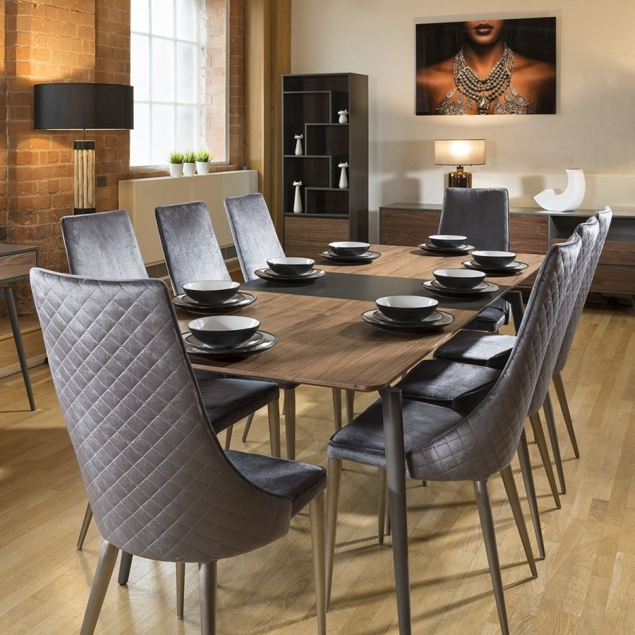 Extending Dining Table Set Walnut / Grey 8 High Back Grey Chairs With Latest Extending Dining Table Sets (Gallery 12 of 25)