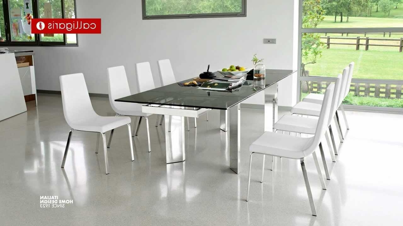 Extending Dining Table With 10 Seats In Current Tower – 10 Person Extending Metal & Glass Table – Youtube (View 13 of 25)