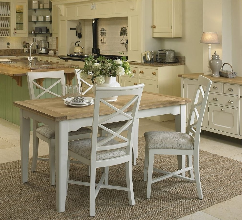 Extending Dining Tables And 4 Chairs With Regard To Most Up To Date Lazio Painted Small Extending Dining Set With 4 Cross Back Chairs (View 11 of 25)