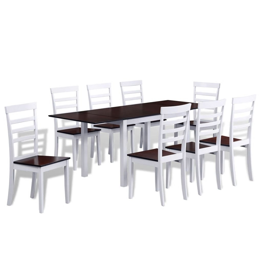 Extending Dining Tables And 8 Chairs with Most Up-to-Date Brown White Solid Wood Extending Dining Table Set With 8 Chairs