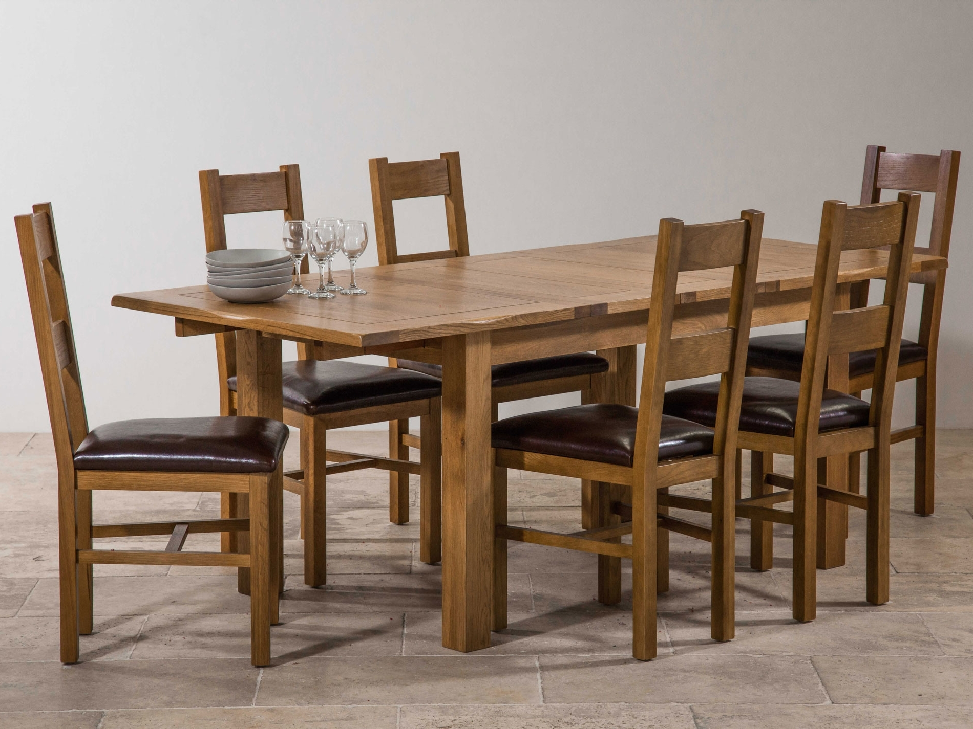 Extending Dining Tables Set Regarding Trendy Extending Dining Room Table And Chairs Lovely Rustic Solid Oak (View 7 of 25)