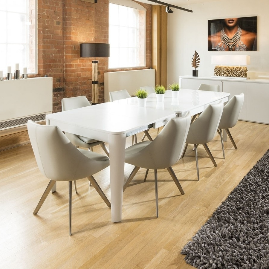 Extending Glass Dining Tables And 8 Chairs with Most Recently Released Luxury Extending Dining Set Glass Top Table 8 Ice Grey Large Chairs