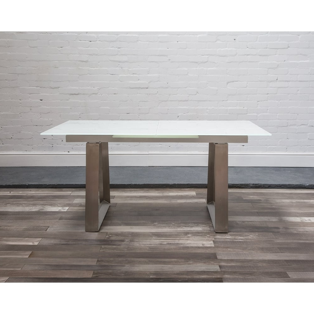 Extending Glass Dining Tables pertaining to Trendy Hnd Ancona Glass Extending Table - Brushed Steel Base At Smiths The Rink