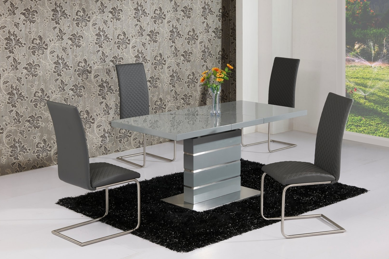 Extending Grey High Gloss Dining Table And 4 Grey Chairs pertaining to Well-liked Grey Gloss Dining Tables
