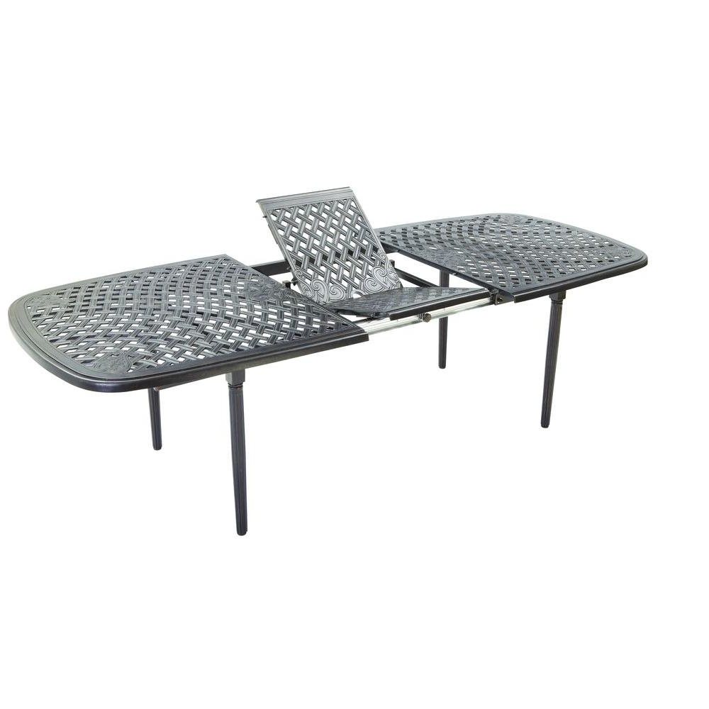 Extending Rectangular Dining Tables within Best and Newest Hampton Bay Edington Cast Top 96 In. X 42 In. Extension Patio Dining