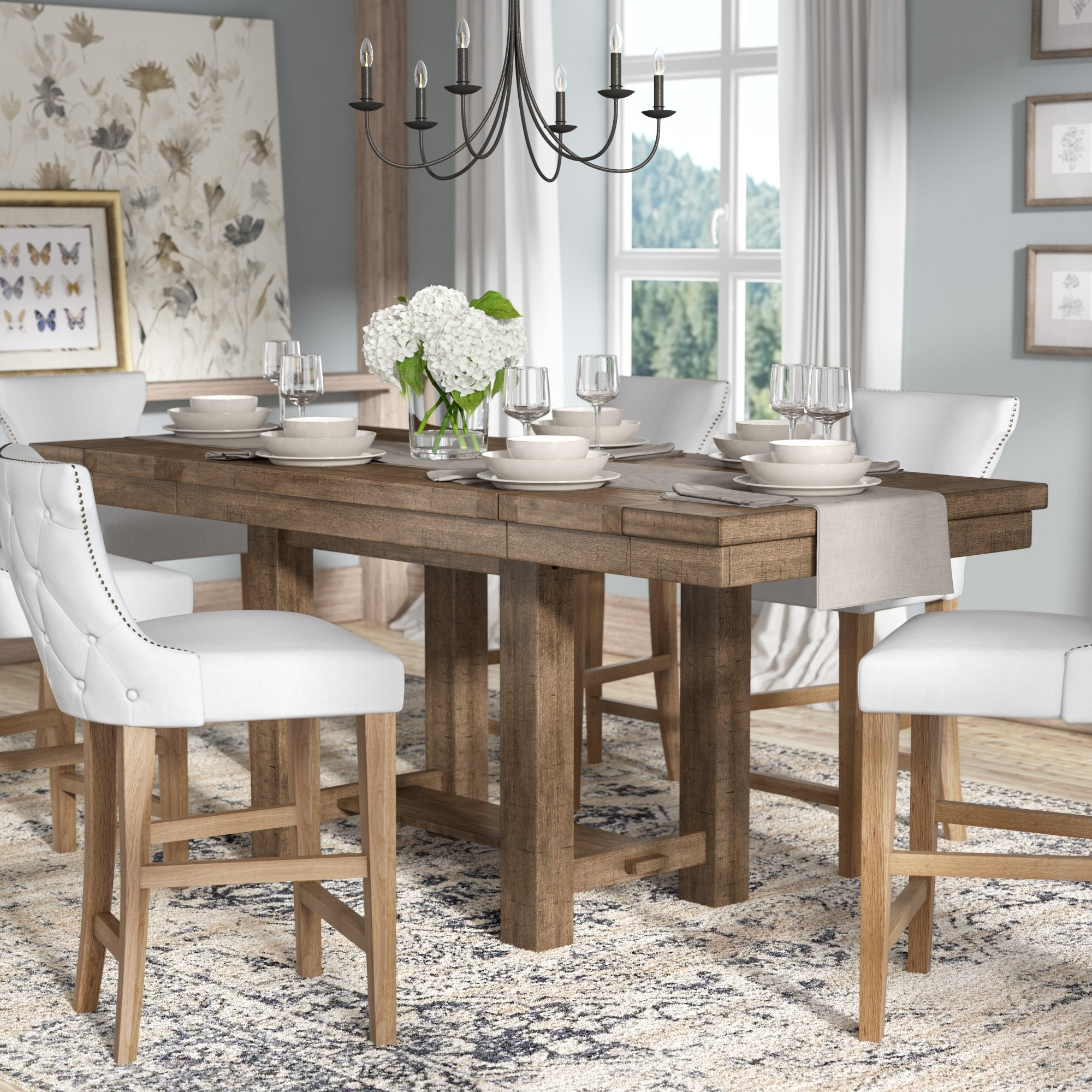 Extending Rectangular Dining Tables Within Widely Used Extending Dining Room Sets Stunning Hillary Rectangular Counter (View 13 of 25)