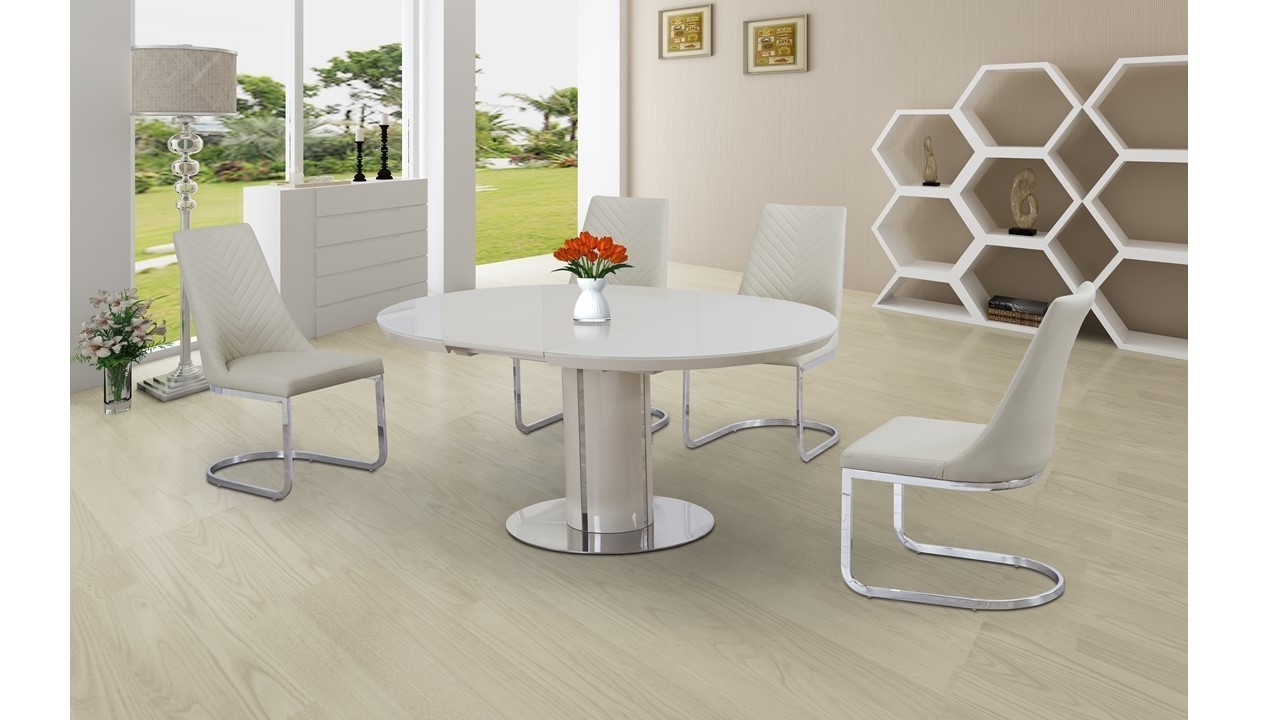 Extending Round Cream High Gloss Glass Dining Table And 4 Chairs Set throughout Most Current Glass Extending Dining Tables