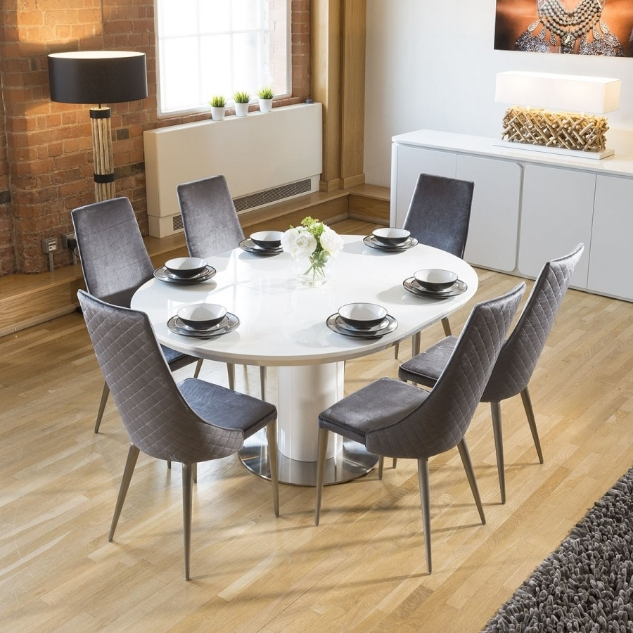 Extending Round Oval Dining Set White Gloss Table 6 Grey Velvet Inside Most Current Dining Tables With Attached Stools (View 13 of 25)