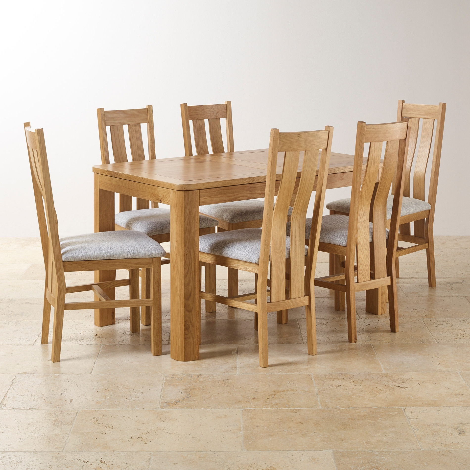 Extending Table & 6 Arch Back Grey Fabric Chairs with Most Recent Extending Dining Tables And 6 Chairs