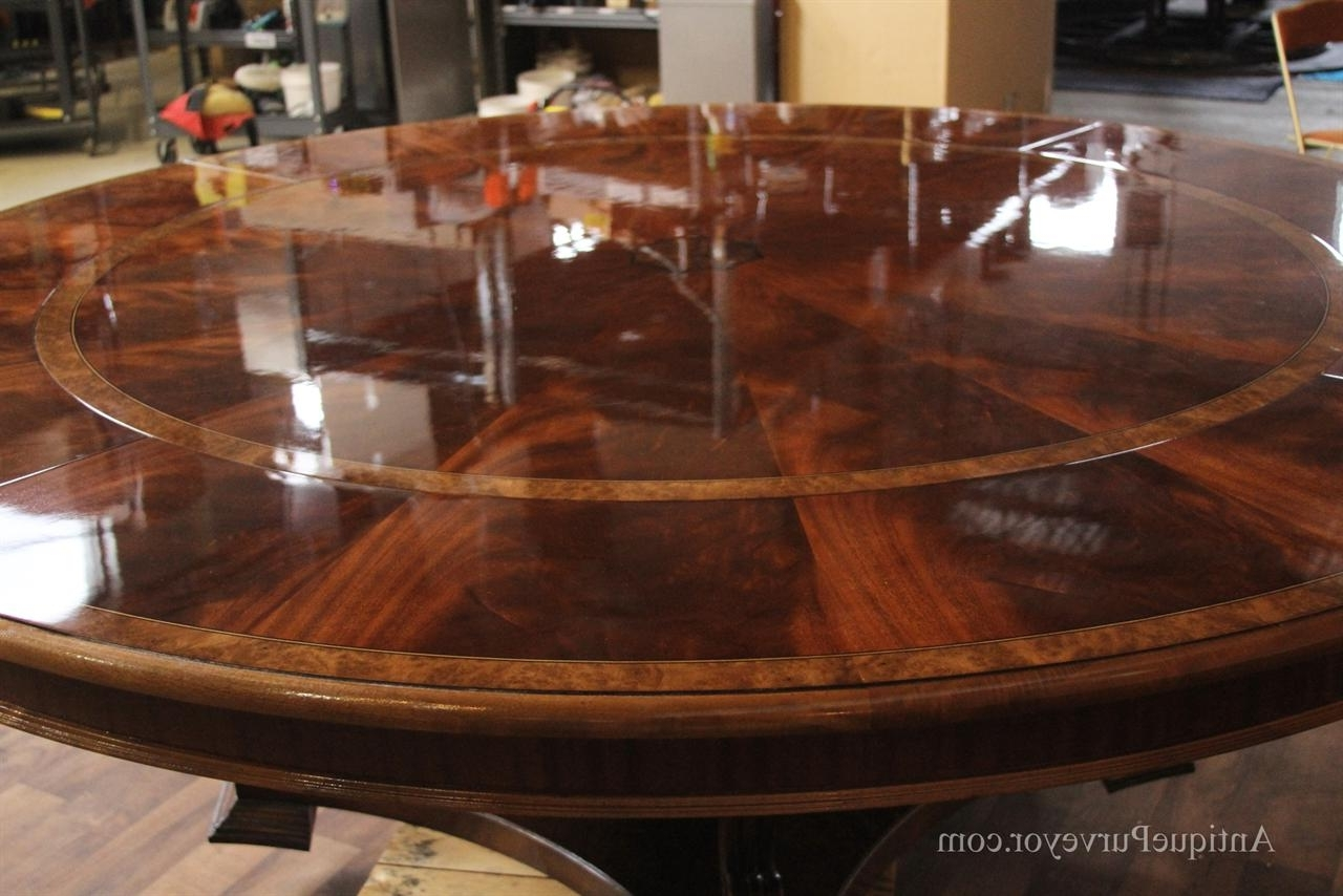 Extra Large 88 Round Mahogany Dining Table With Perimeter Leaves In Best And Newest Huge Round Dining Tables (View 8 of 25)