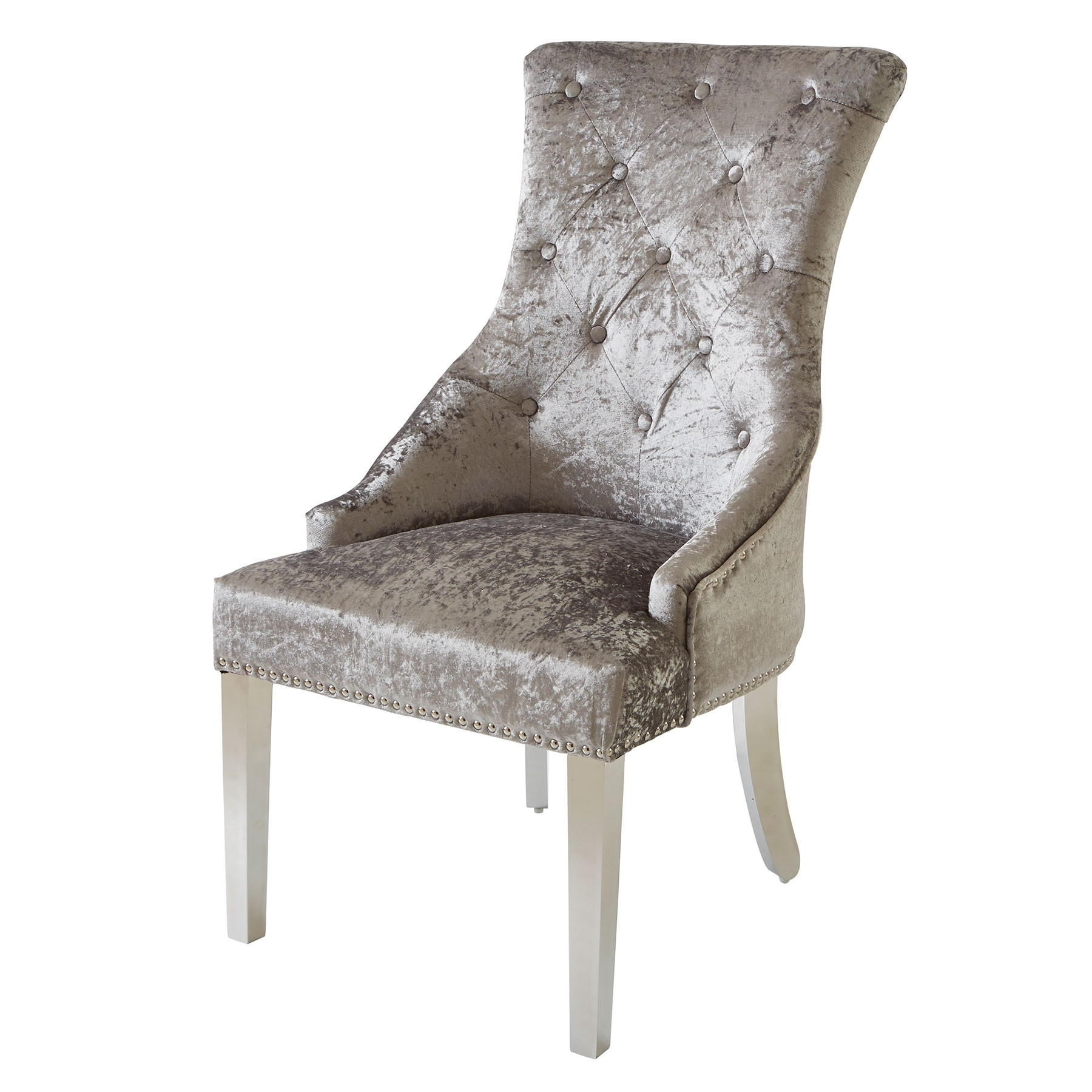 Fabric Covered Dining Chairs Within Newest Louis Silver Fabric Dining Chair With Knocker And Chrome Legs (View 5 of 25)