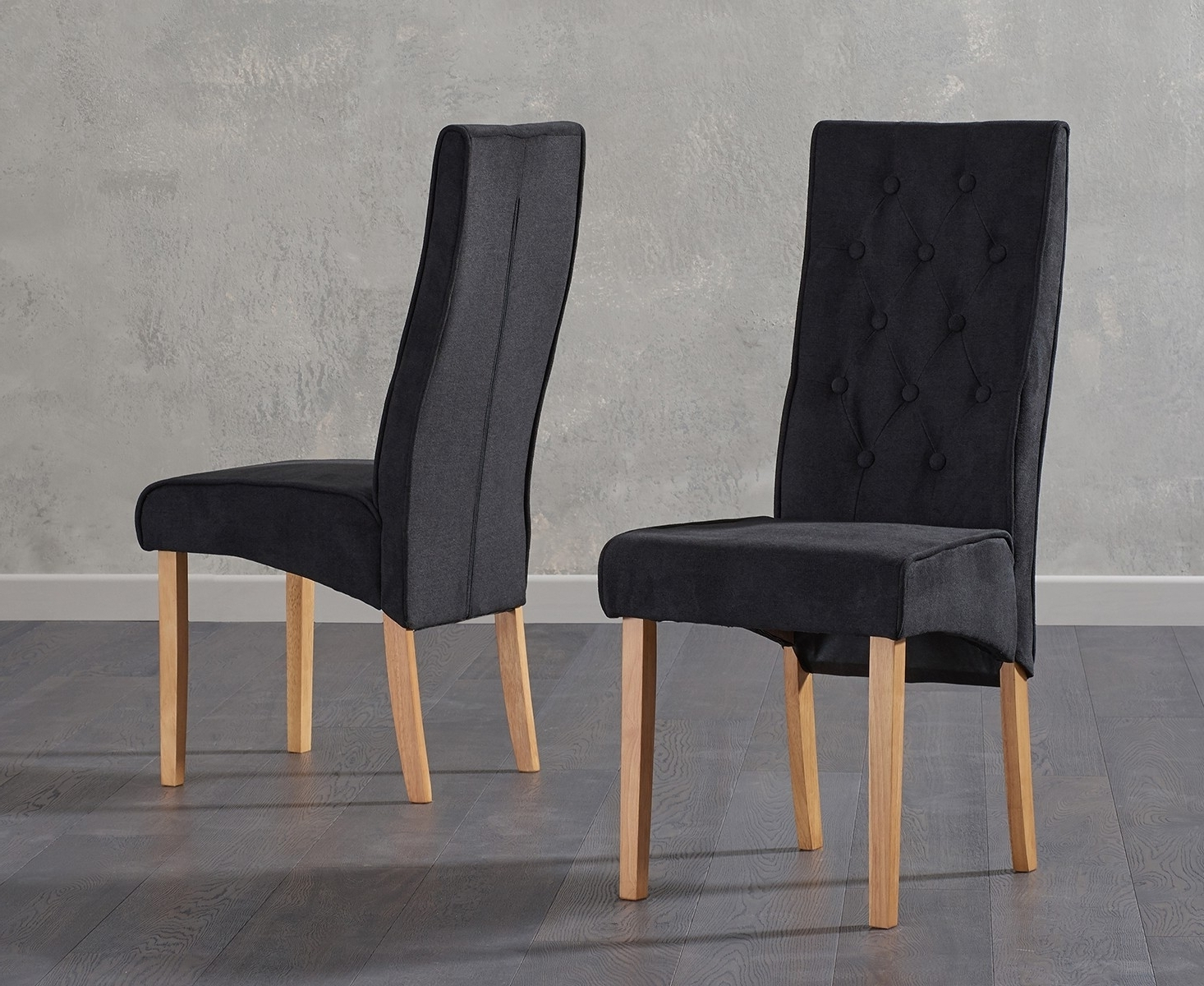 Fabric Dining Chairs Intended For Well Liked Mello Black Fabric Dining Chairs (Pair) – Comes Ready Assembled (View 9 of 25)