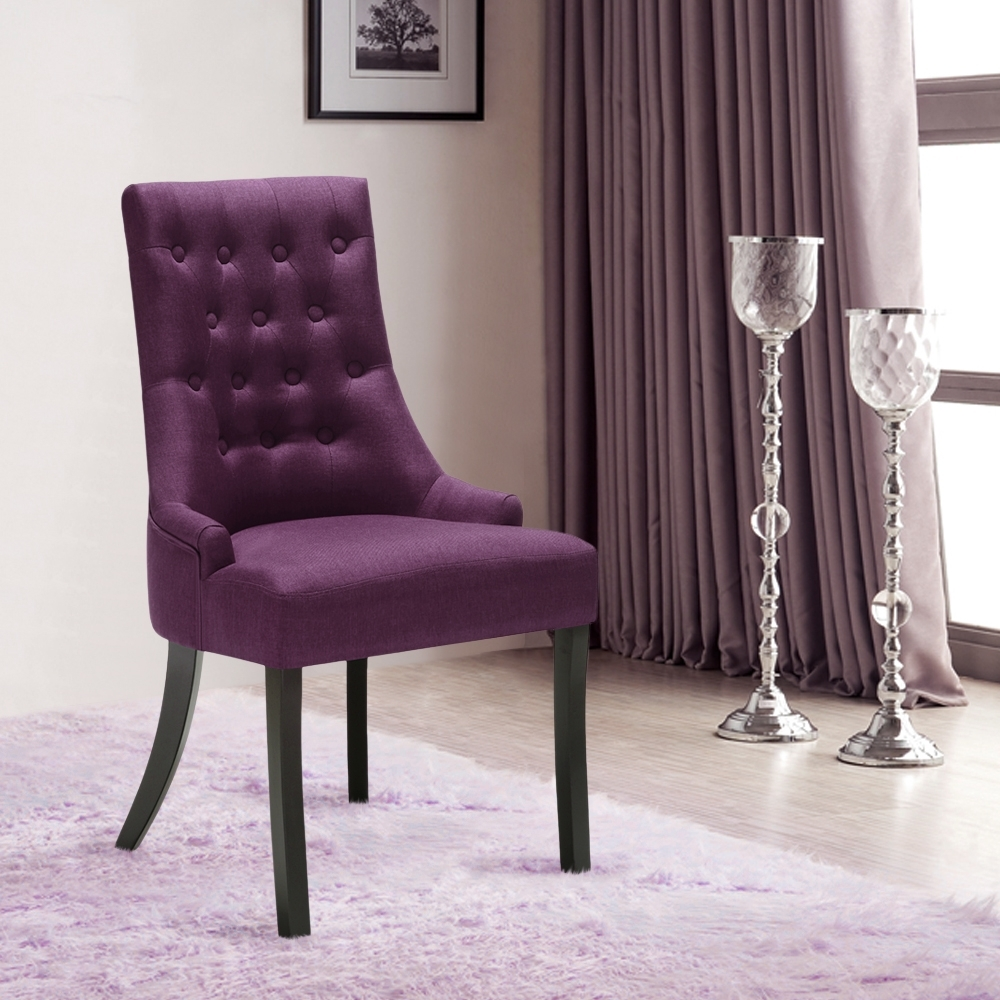 Fabric Dining Room Chairs In Favorite Purple Ikayaa Accent Linen Fabric Dining Room Chair – Lovdock (View 25 of 25)