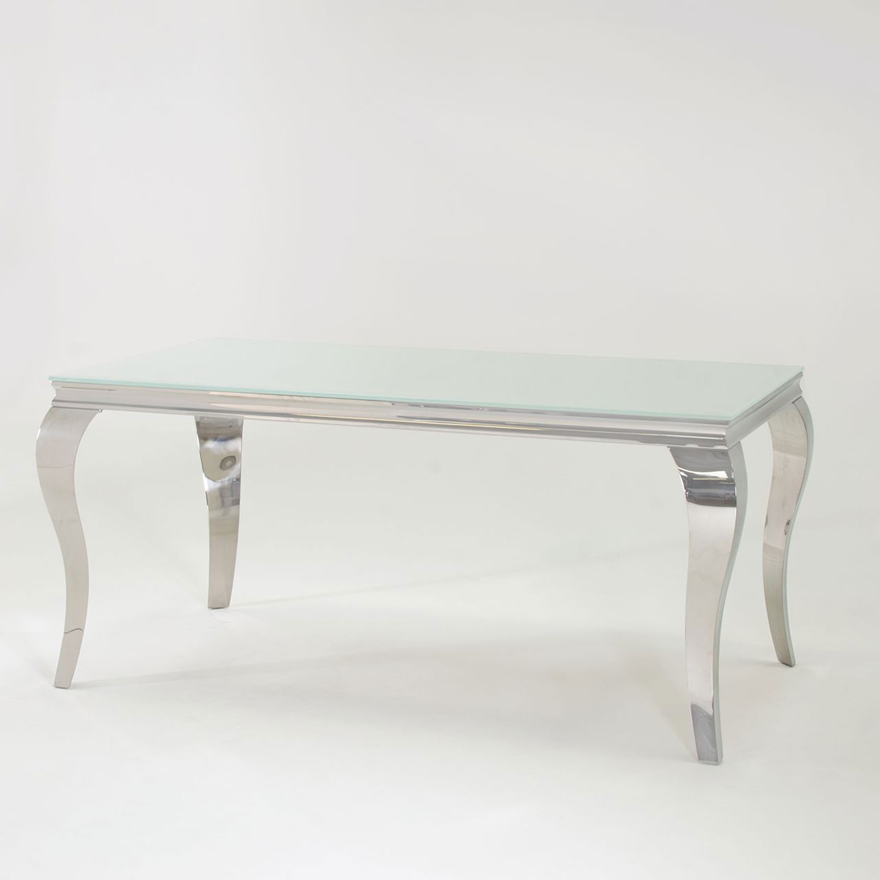 Fadenza White Glass 200Cm Dining Table For Best And Newest Glass And Stainless Steel Dining Tables (View 9 of 25)
