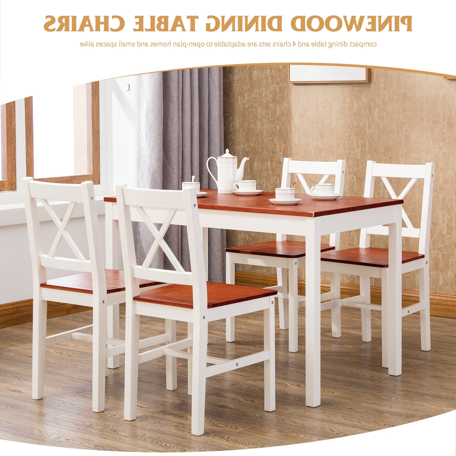 Famous 5 Pcs Pine Wood Dining Table And Chairs Set Kitchen Dining Room Regarding Dining Tables And Chairs Sets (View 12 of 25)