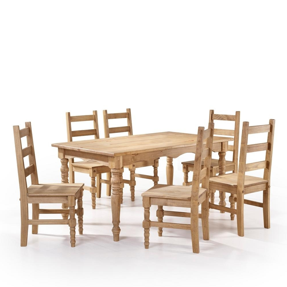 Famous 6 Chair Dining Table Sets Within Manhattan Comfort Jay 7 Piece Nature Solid Wood Dining Set With  (View 9 of 25)