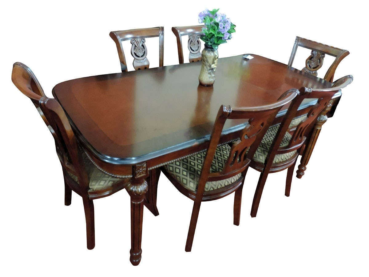 Famous 6 Seat Dining Tables And Chairs Throughout 6 Seater Dining Table Set – Premium Teak (View 8 of 25)