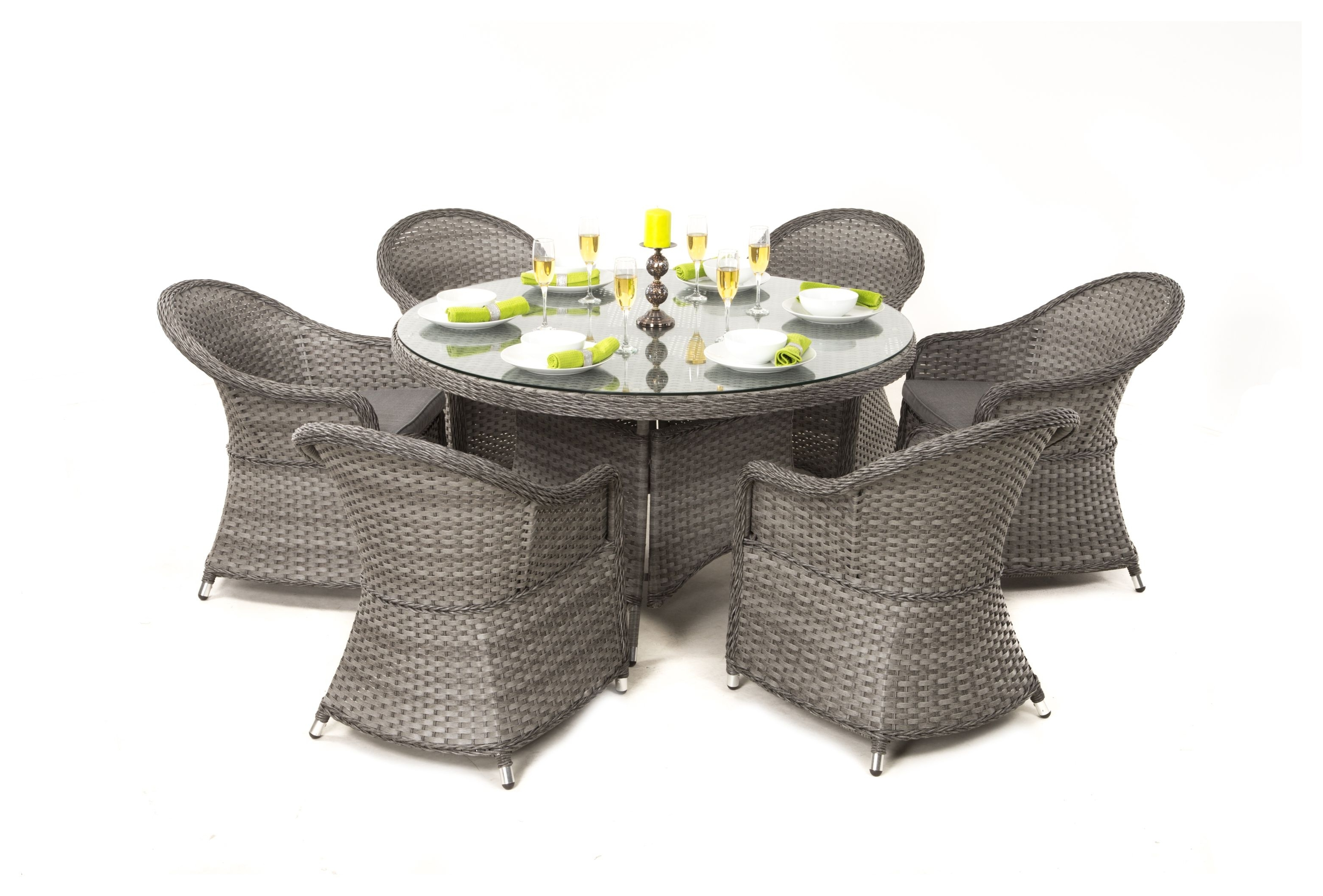 Famous 6 Seat Round Dining Tables Throughout Maze Rattan – Victoria 6 Seat Round Dining Set With Rounded Chairs (View 22 of 25)