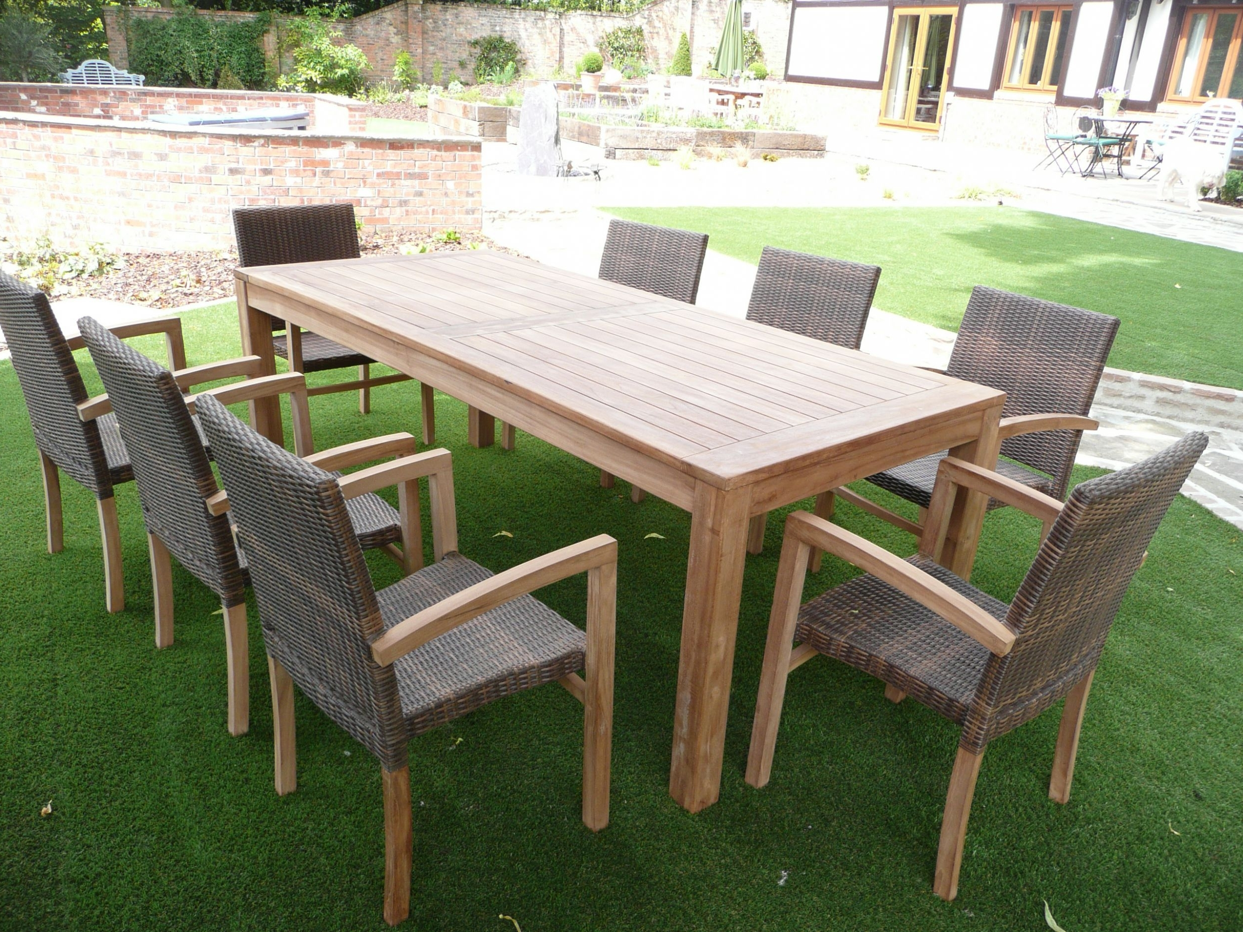 Famous Amazing Open Garden With Green Grasses And Wicker Dining Sets Feat Intended For 8 Seat Outdoor Dining Tables (View 10 of 25)