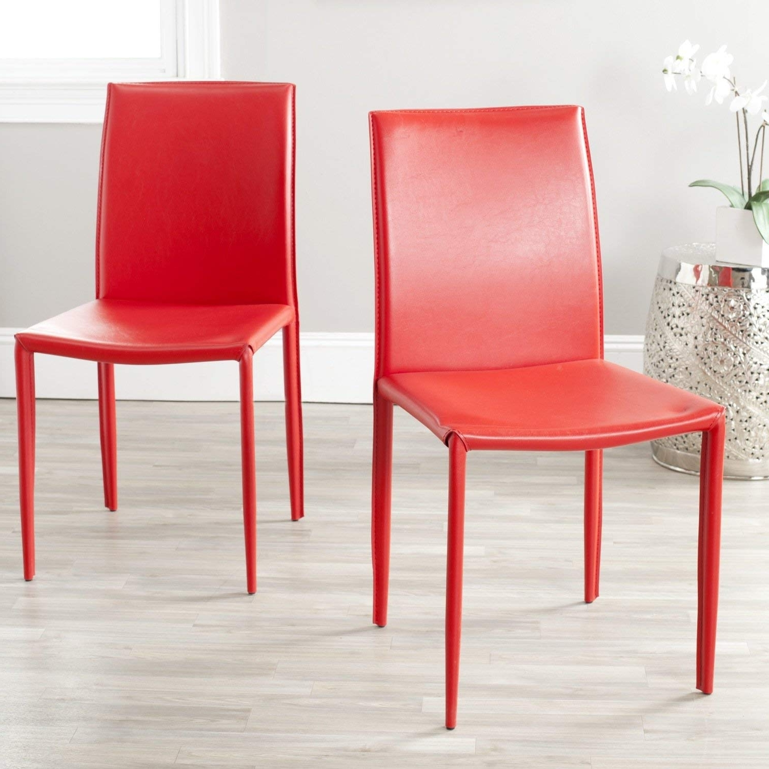 Famous Amazon – Safavieh Home Collection Karna Modern Red Dining Chair Within Red Dining Chairs (View 11 of 25)