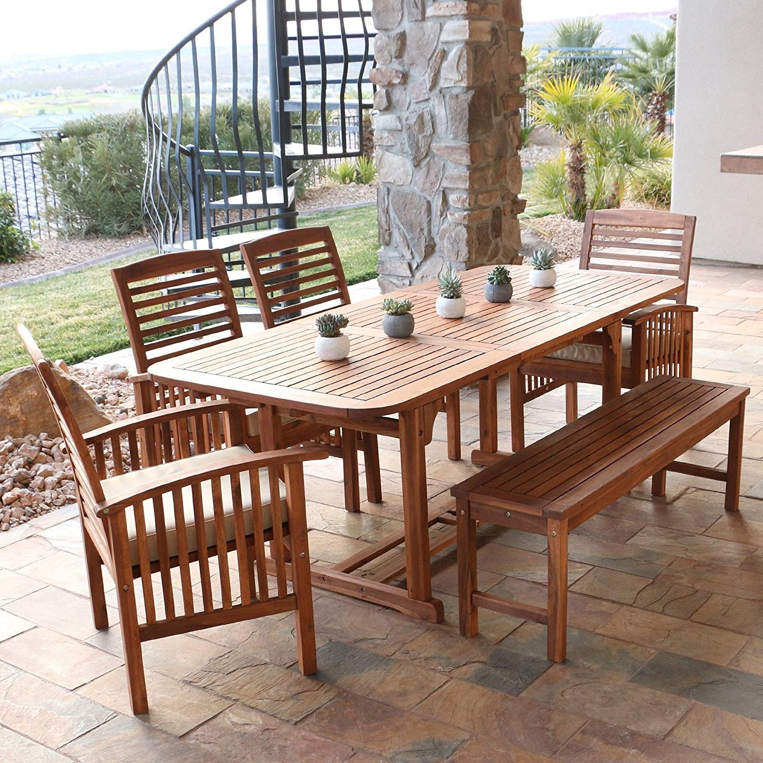 Famous Amazon: We Furniture Solid Acacia Wood 6 Piece Patio Dining Set In Outdoor Dining Table And Chairs Sets (View 3 of 25)