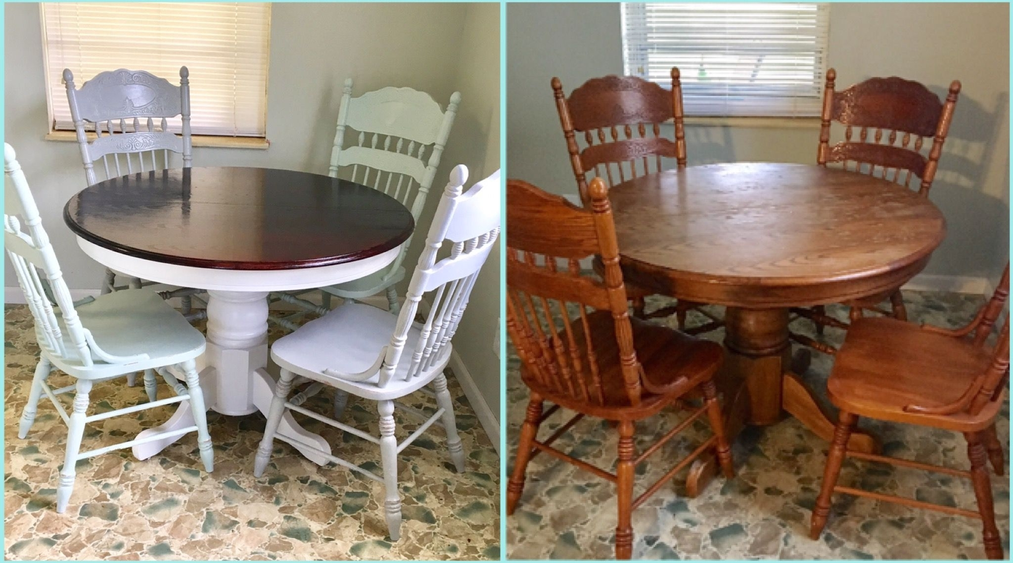 Famous Before And After. Round Oak Table Makeover/redo (View 16 of 25)