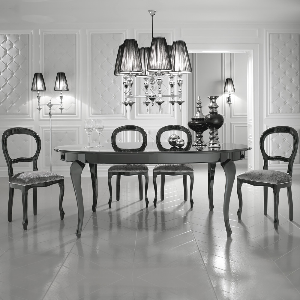 Famous Black High Gloss Oval Extendable Dining Table (View 21 of 25)