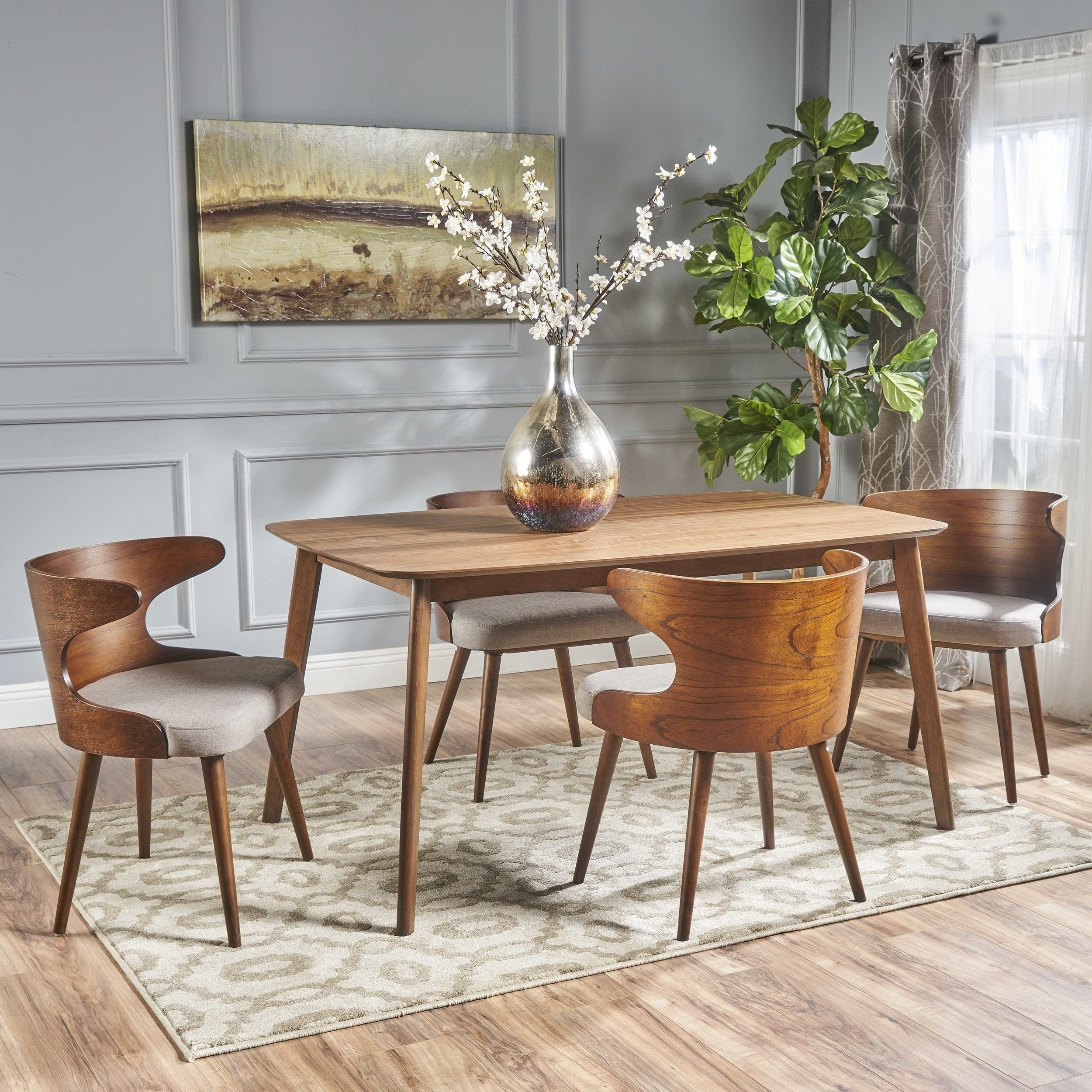 Famous Briella Mid Century 5 Piece Rectangular Wood Dining Set Regarding Palazzo 7 Piece Rectangle Dining Sets With Joss Side Chairs (View 10 of 25)