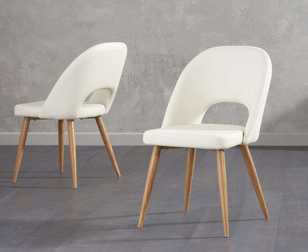 Famous Buy Mark Harris Halle Dining Chairs – Cream Faux Leather (Pair Inside Cream Faux Leather Dining Chairs (View 25 of 25)